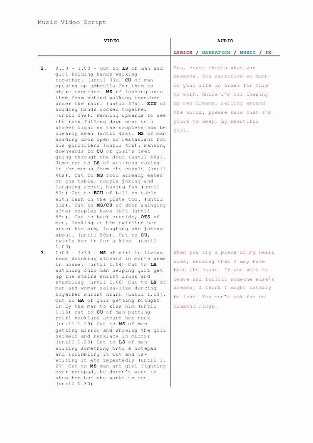 Music Video Script Template Best Of Music Video Script Template