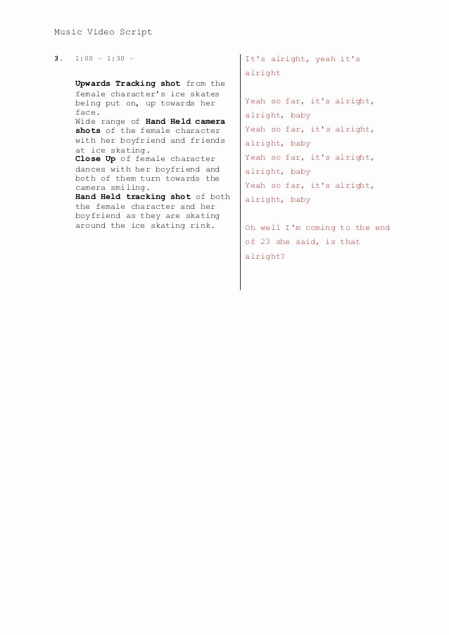 Music Video Script Template Elegant Music Video Script Template A2 Media Adv Portfolio