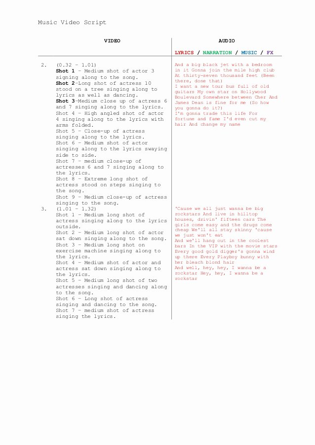 Music Video Script Template Elegant Music Video Script Template