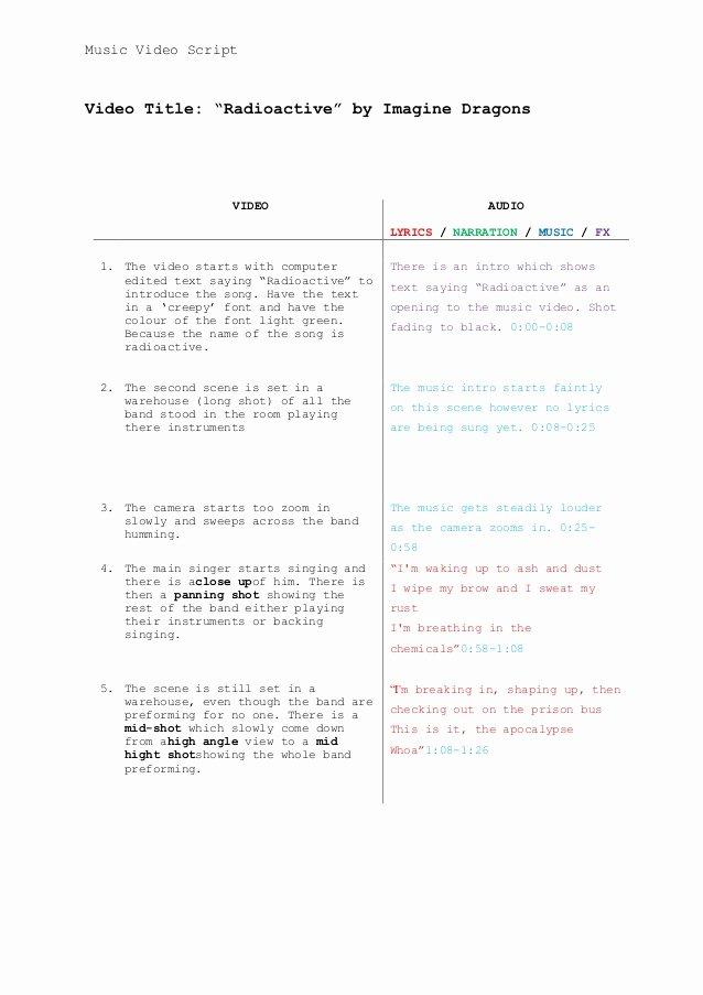 Music Video Script Template Fresh Music Video Script Template 1