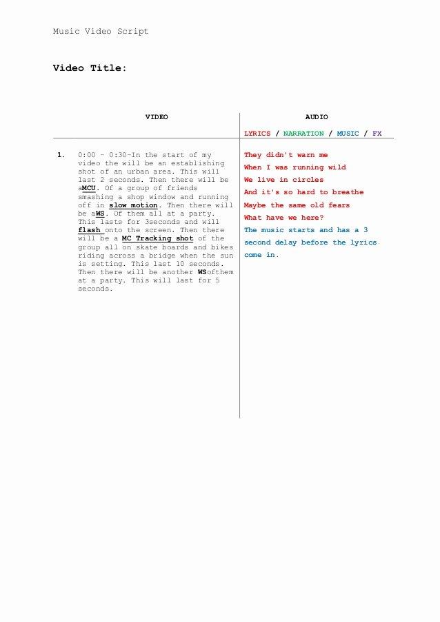 Music Video Script Template Fresh Music Video Script Template Update Nov 2013