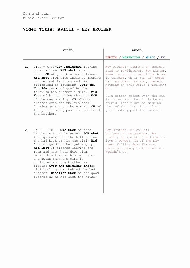 Music Video Script Template Fresh Script Storyboard Template Project Free Resume Templates