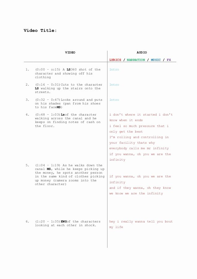 Music Video Script Template Inspirational Music Video Script Template