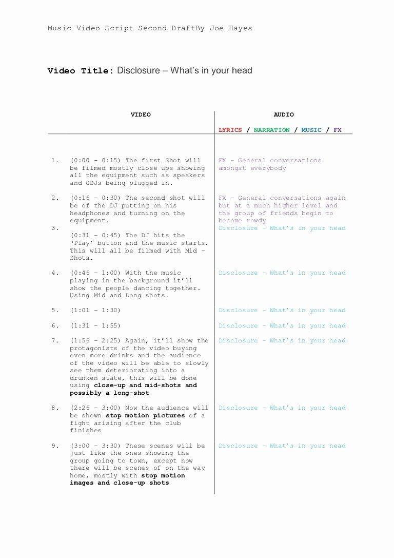 Music Video Script Template Lovely Music Video Script Template 1