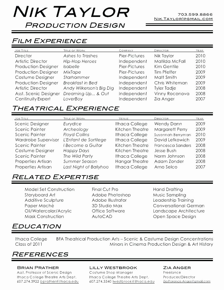 Musical theatre Resume Template Beautiful Musical theatre Resume Acting Template Free Templates Cv