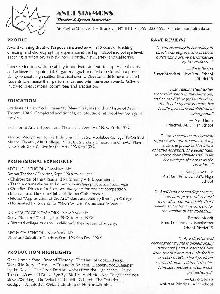 Musical theatre Resume Template Lovely Resume format Resume Samples theater