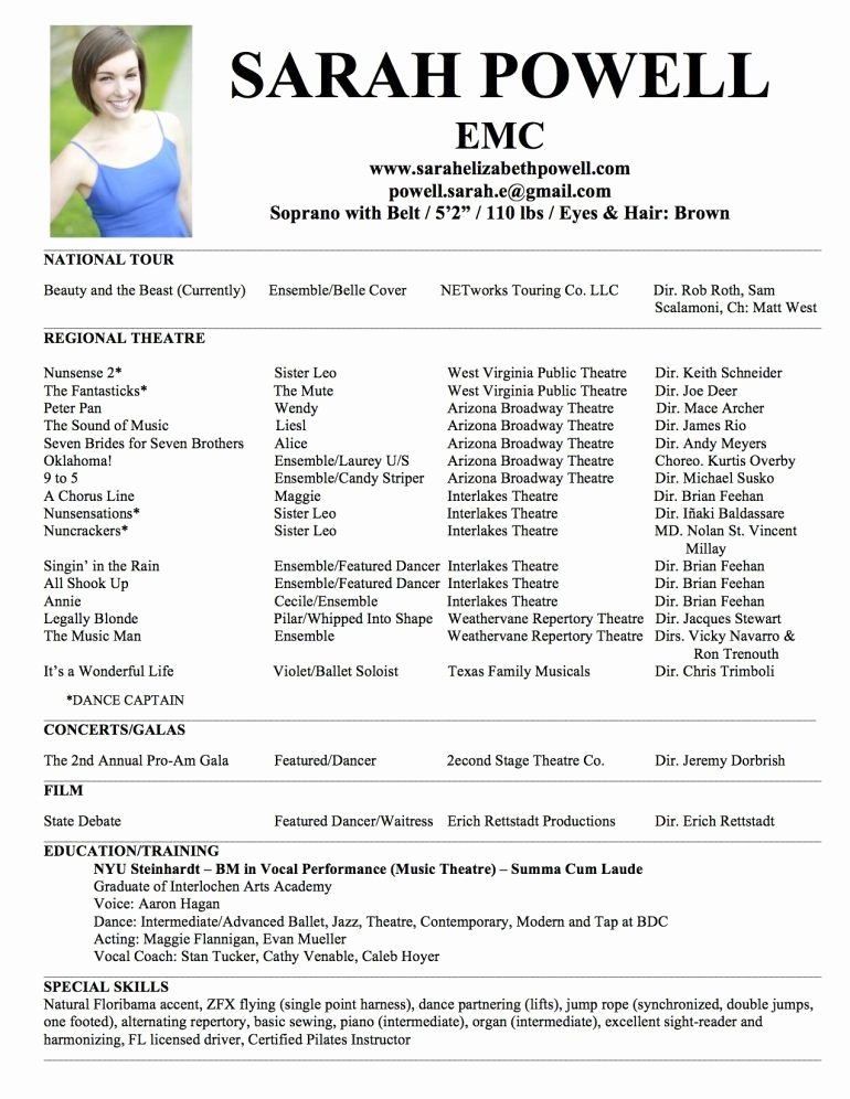 Musical theatre Resume Template Luxury Musical theatre Resume Examples Best Resume Collection