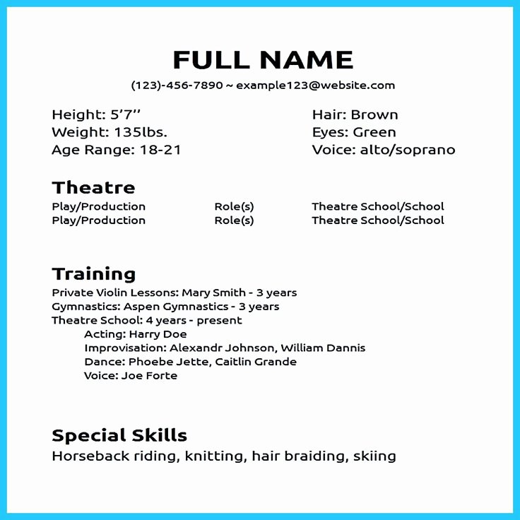 Musical theatre Resume Template New Actor Resume Sample Presents How You Will Make Your