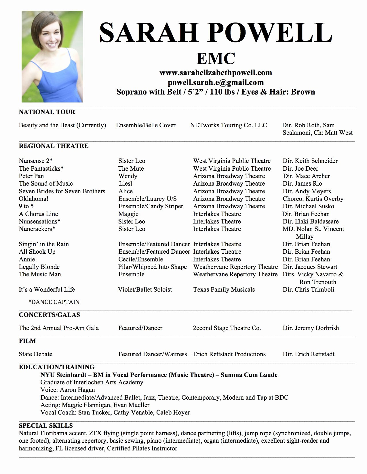 Musical theatre Resume Template New theatre Resume Template
