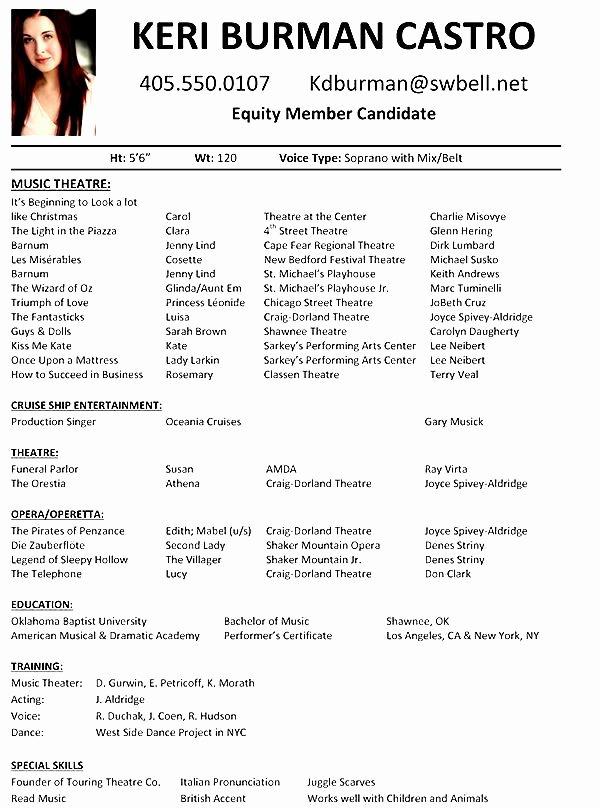 Musical theatre Resume Template Unique Musical theatre Resume Examples Free Samples Examples