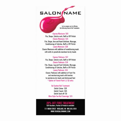 Nail Price List Template Elegant Nail Salon Price List Rack Cards