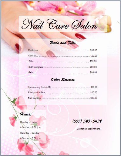 Nail Price List Template Fresh Nail Services Salon Price List Template