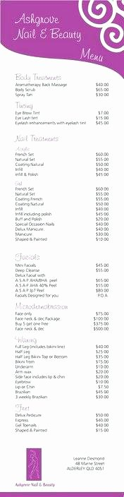 Nail Price List Template Lovely Spa Beauty Salon Brochure Template Price List Free therapy