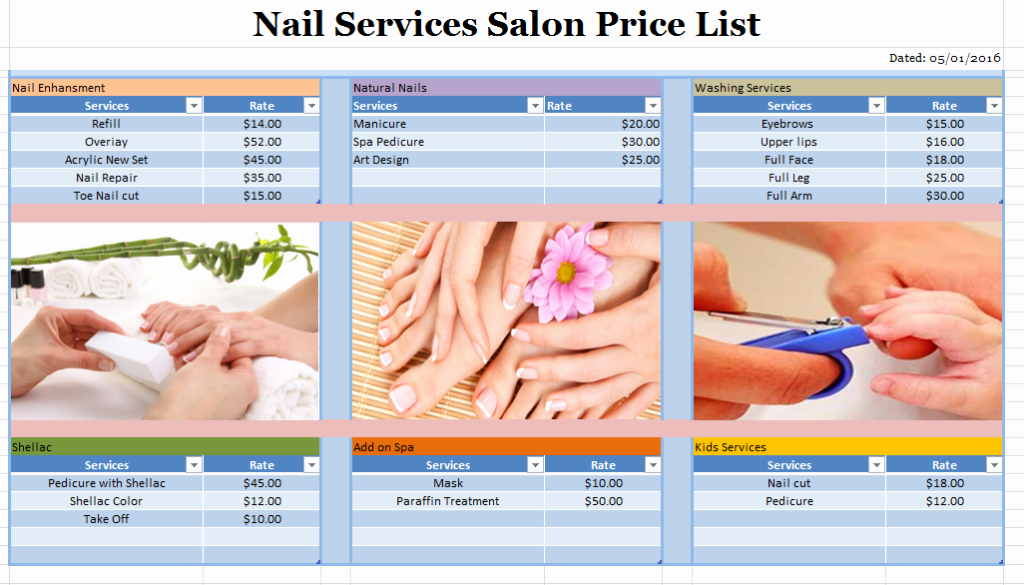 Nail Price List Template Luxury Nail Salon Layout