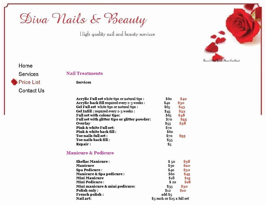 Nail Price List Template New 8 Free Sample Nail Services Salon Price List Templates