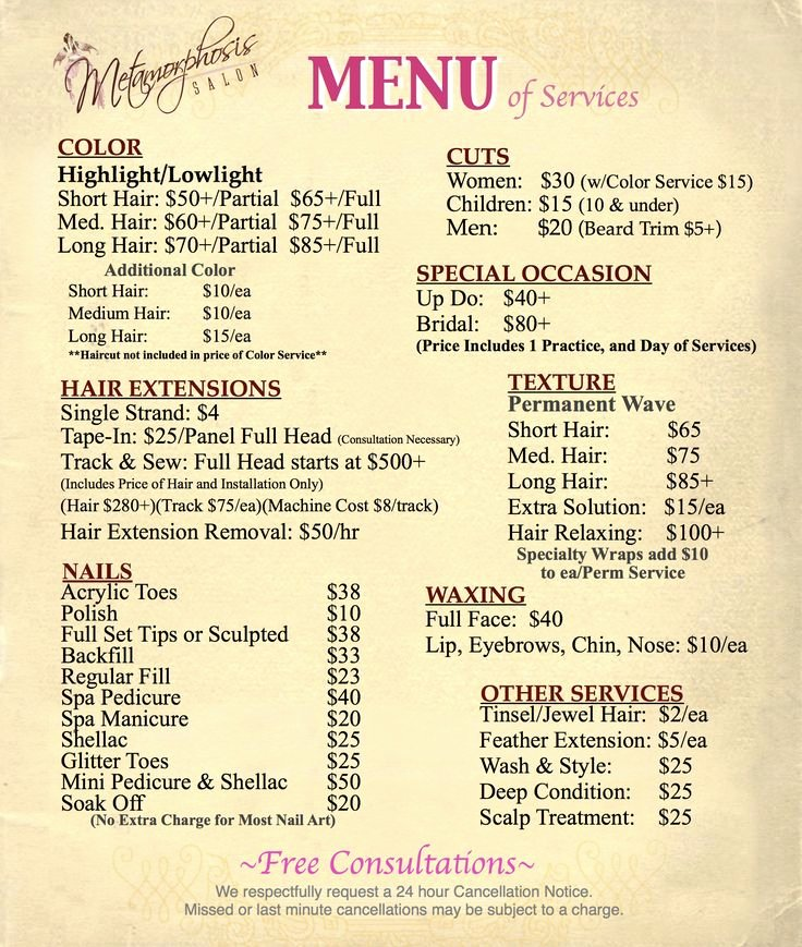 Nail Price List Template New Best 25 Salon Menu Ideas On Pinterest