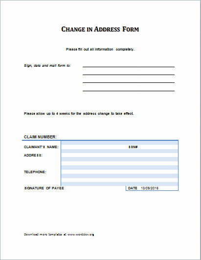 Name and Address Template Luxury the Contents Of the Change Of Address form are Pretty