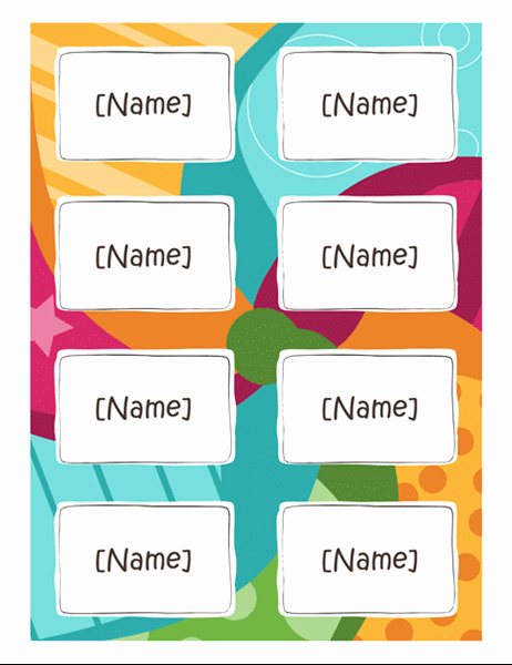 Name Badge Template Free Fresh Name Badges Bright Design 8 Per Page Works with Avery