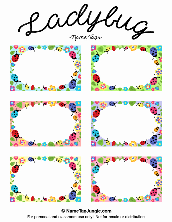 Name Tag Template Free Lovely Printable Ladybug Name Tags