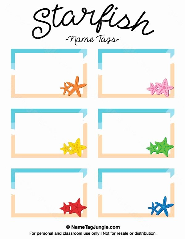 Name Tag Template Free New Free Printable Starfish Name Tags the Template Can Also