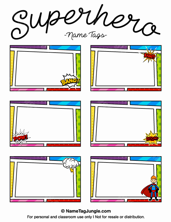 Name Tag Template Free New Printable Superhero Name Tags