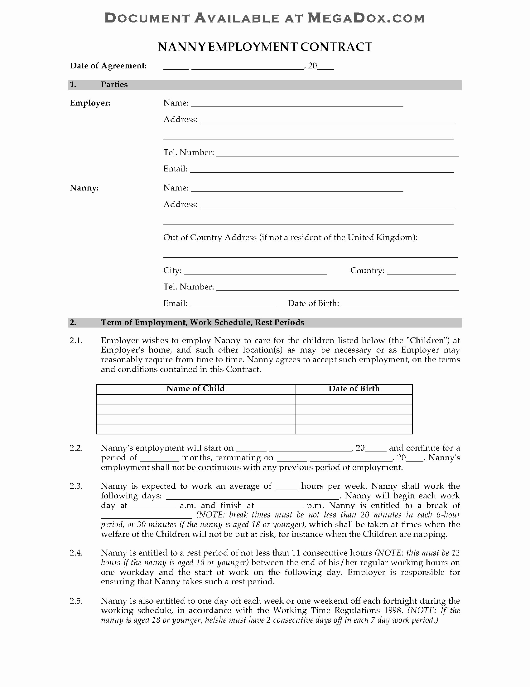 Nanny Contract Template Word Awesome Nanny Contracts Examples