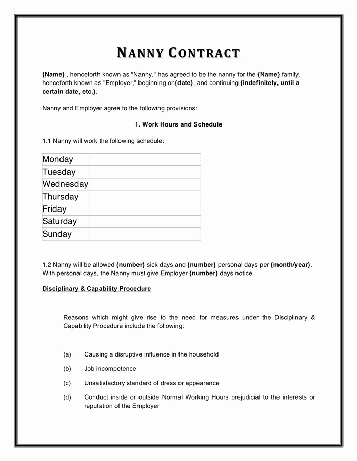 Nanny Contract Template Word Beautiful Nanny Contract Template In Word and Pdf formats