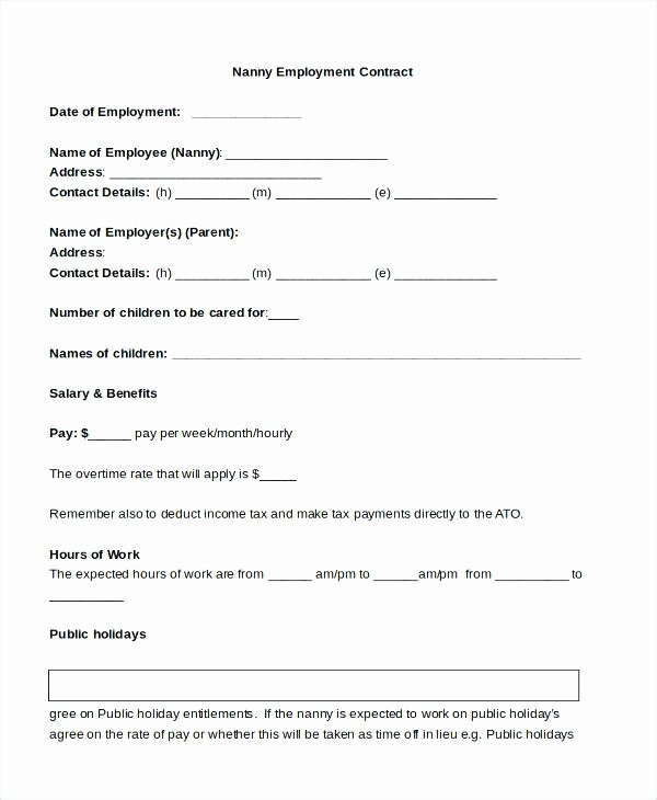 Nanny Contract Template Word Best Of Nanny Contracts Sample Nanny Contract form 9 Free
