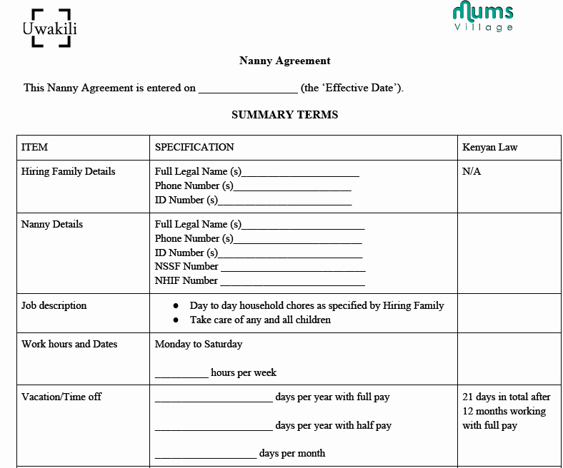 Nanny Contract Template Word Best Of Sample Nanny Agreement Mumsvillage