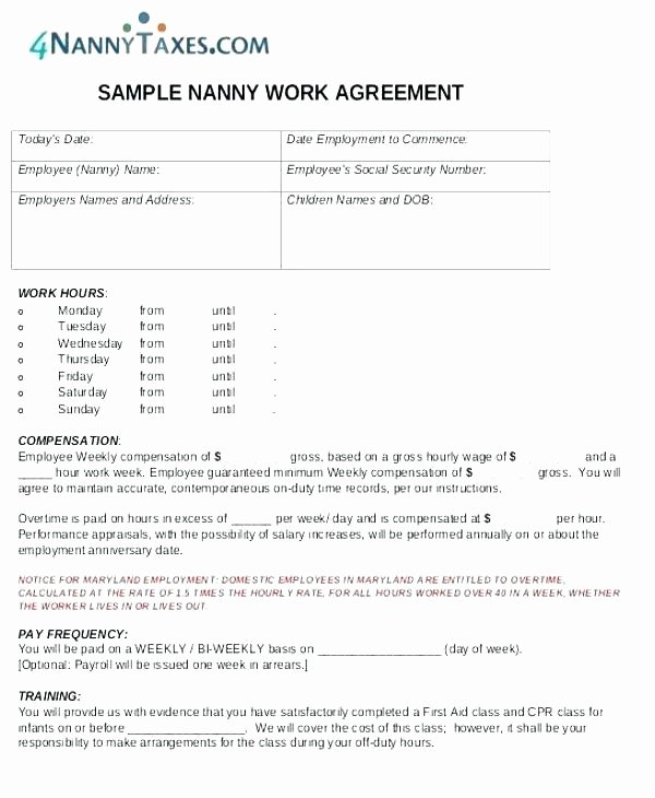 Nanny Contract Template Word Fresh Nanny Agreement Template Payment Plan Template Free Lovely