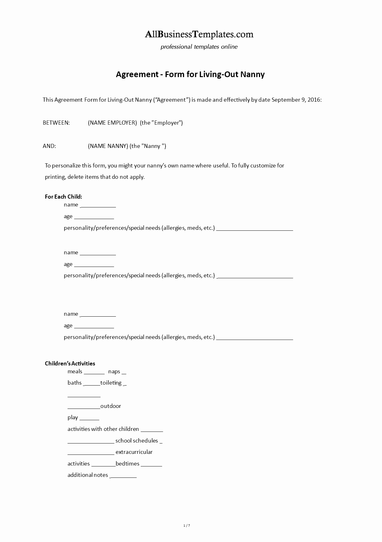 Nanny Contract Template Word Lovely Free Contract form for Living Out Nanny