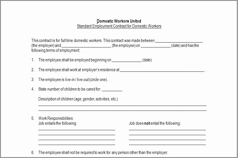 Nanny Contract Template Word Lovely Sample Nanny Agreement Contract Part Time Template Uk