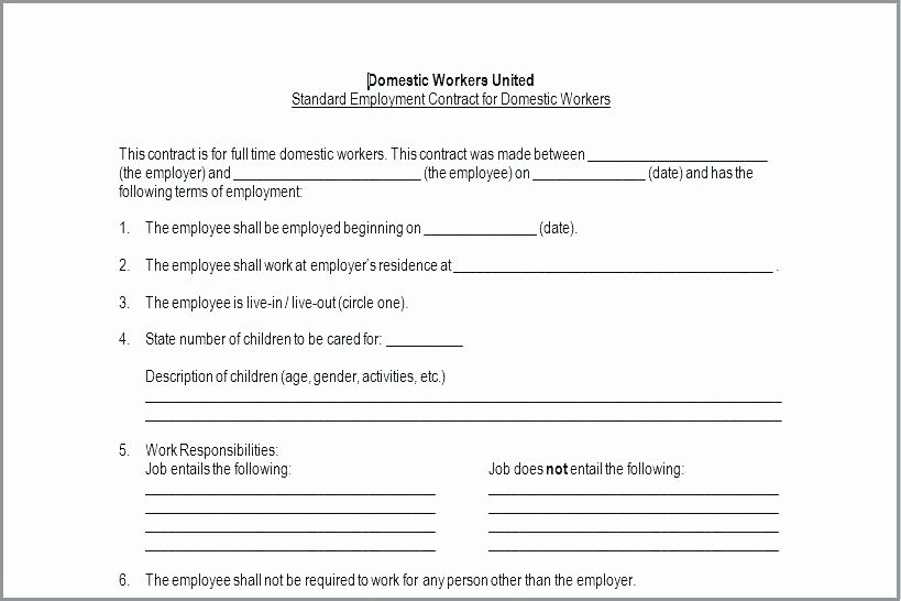 Nanny Contract Template Word Luxury Daycare T Template Child Care Employment In Home Nanny