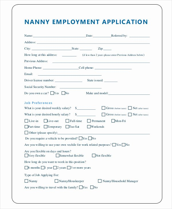 Nanny Contract Template Word Unique 97 Nanny Application Template Cover Letter Template