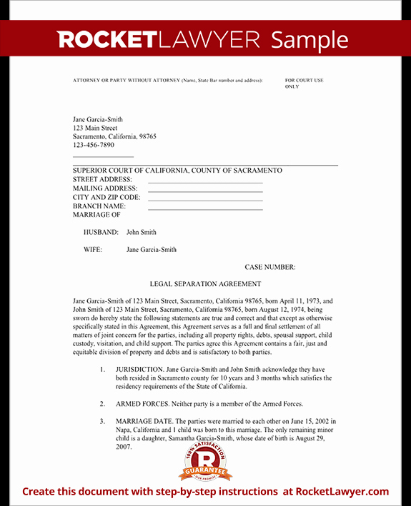 Nc Separation Agreement Template Lovely Legal Marriage Separation Agreement Template with Sample