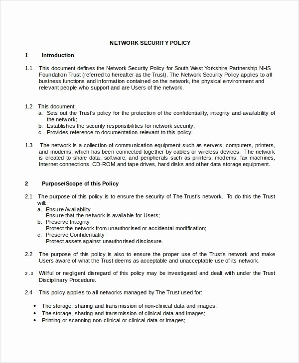 Network Security Policy Template Awesome Security Policy Template 7 Free Word Pdf Document