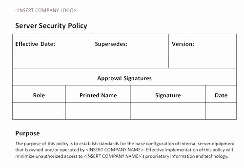 Network Security Policy Template Lovely Sample Information Security Policy Template Threat