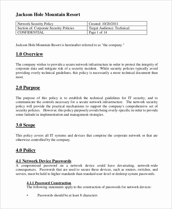 Network Security Policy Template Luxury Security Policy Sample 8 Examples In Word Pdf