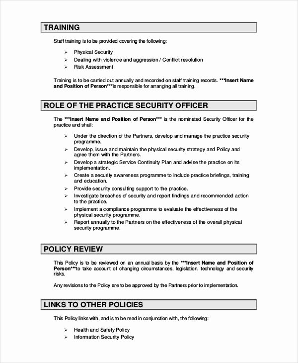 Network Security Policy Template Luxury Security Policy Template 7 Free Word Pdf Document