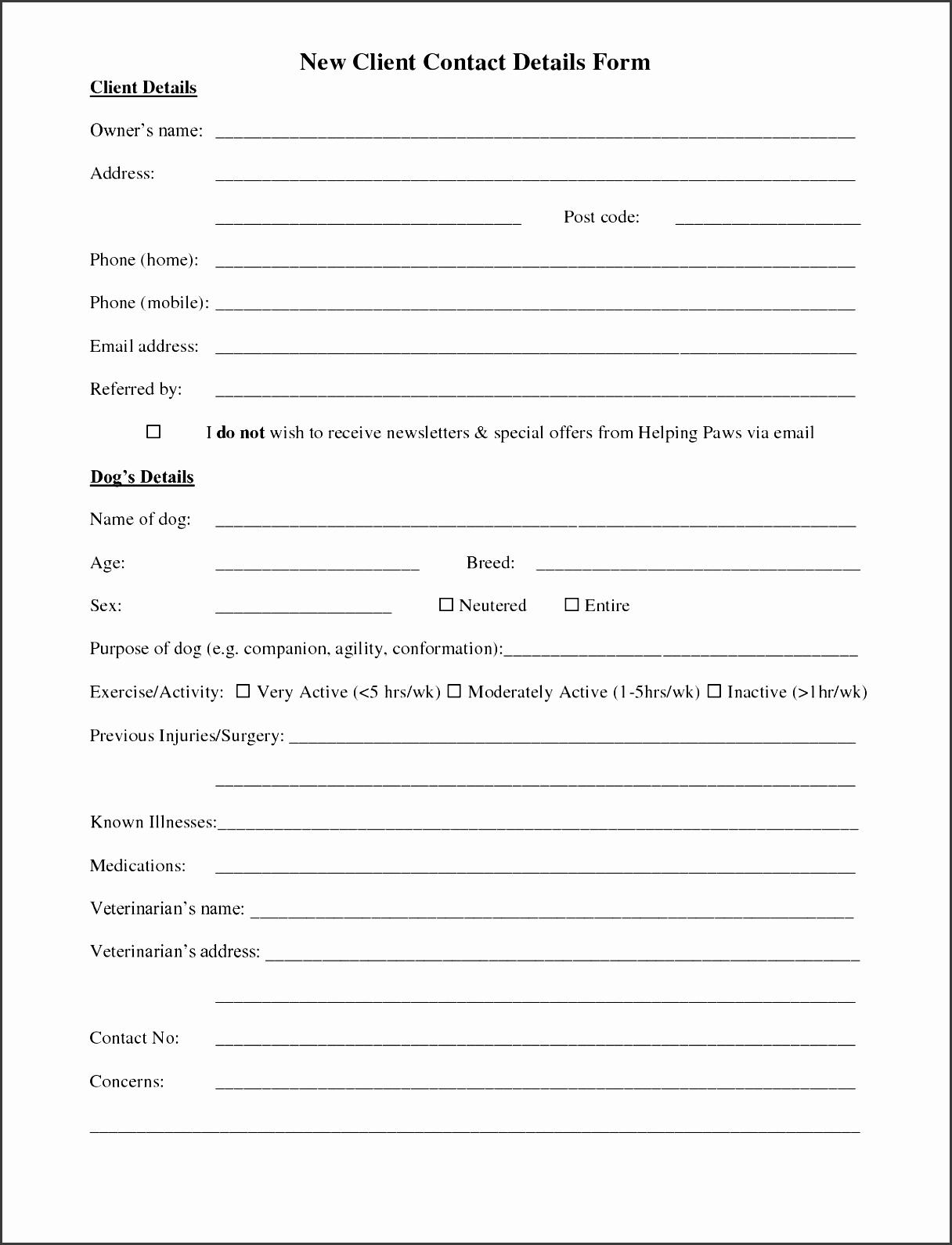 New Client form Template Best Of 5 Customer Information Sheet Template Sampletemplatess