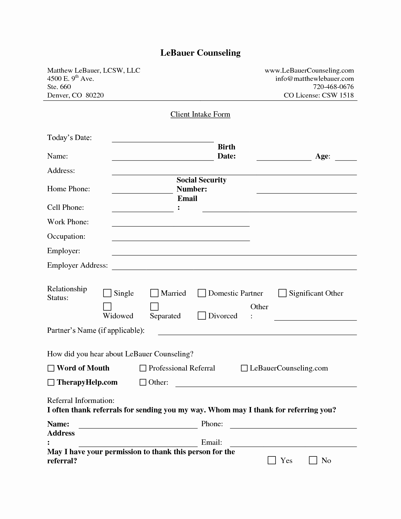 New Client form Template Best Of New Client Intake form Template Fogiid Clipart Kid