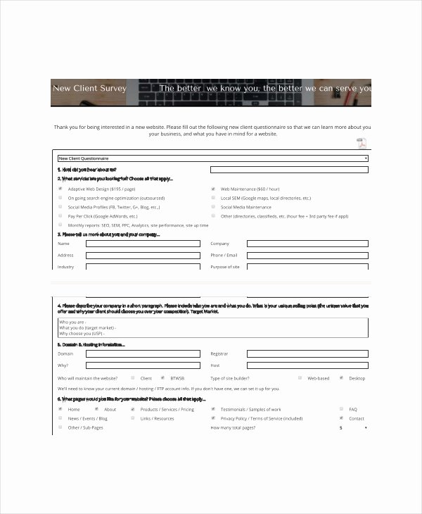 New Client form Template Elegant Client Survey Template 7 Free Word Pdf Documents