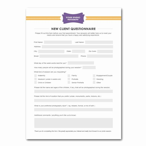 New Client form Template Luxury New Client Questionnaire form Template for Graphers