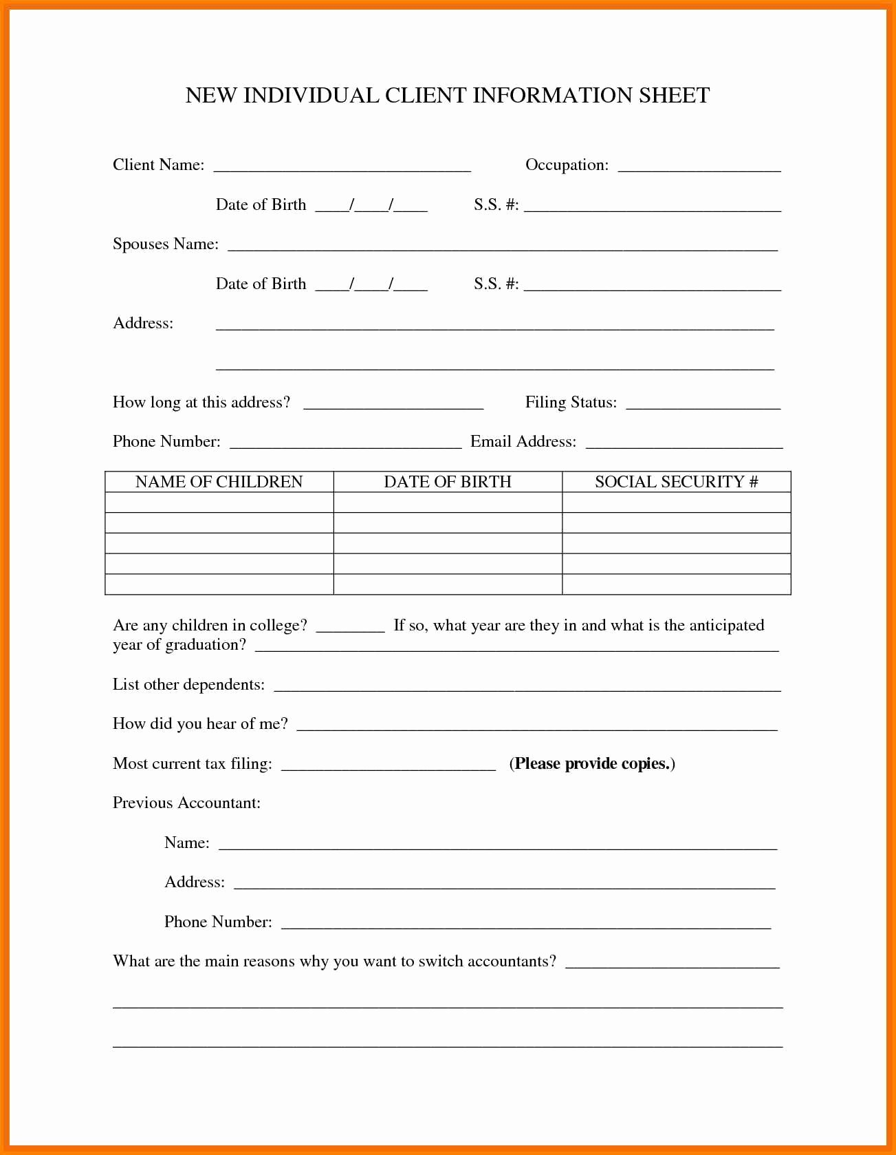 New Client form Template New Client Information form Template Portablegasgrillweber