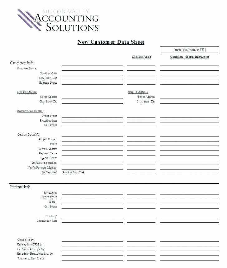 New Client form Template Unique Customer Information form Template Excel – Wapuymfo