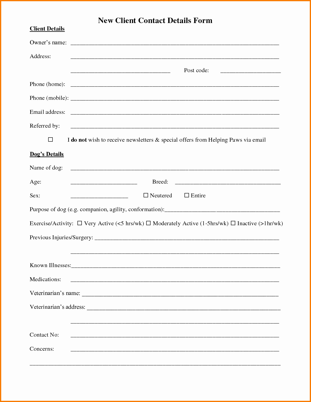 New Customer form Template Awesome Customer Information form Template