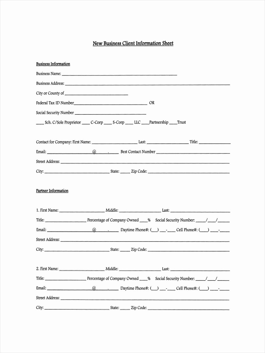 New Customer form Template Best Of 13 Examples Of Client Information Sheets