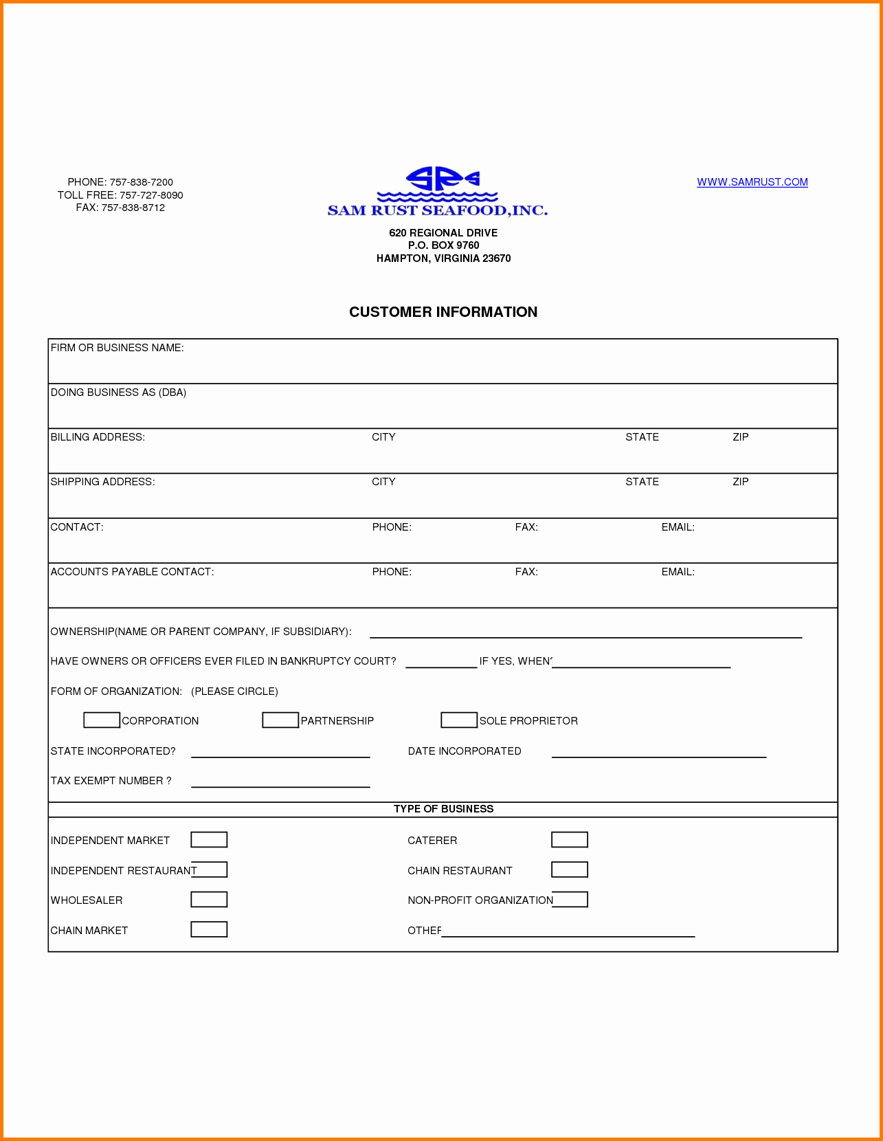 New Customer form Template Fresh Customer Information Template