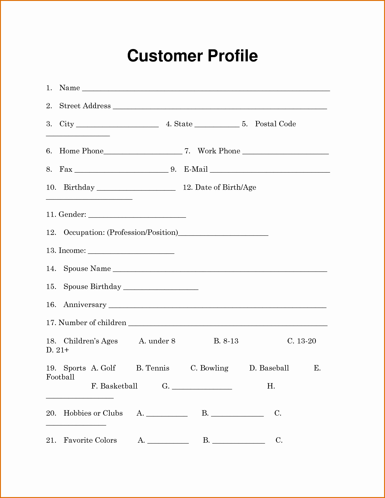 New Customer form Template Luxury 13 Customer Information form Template