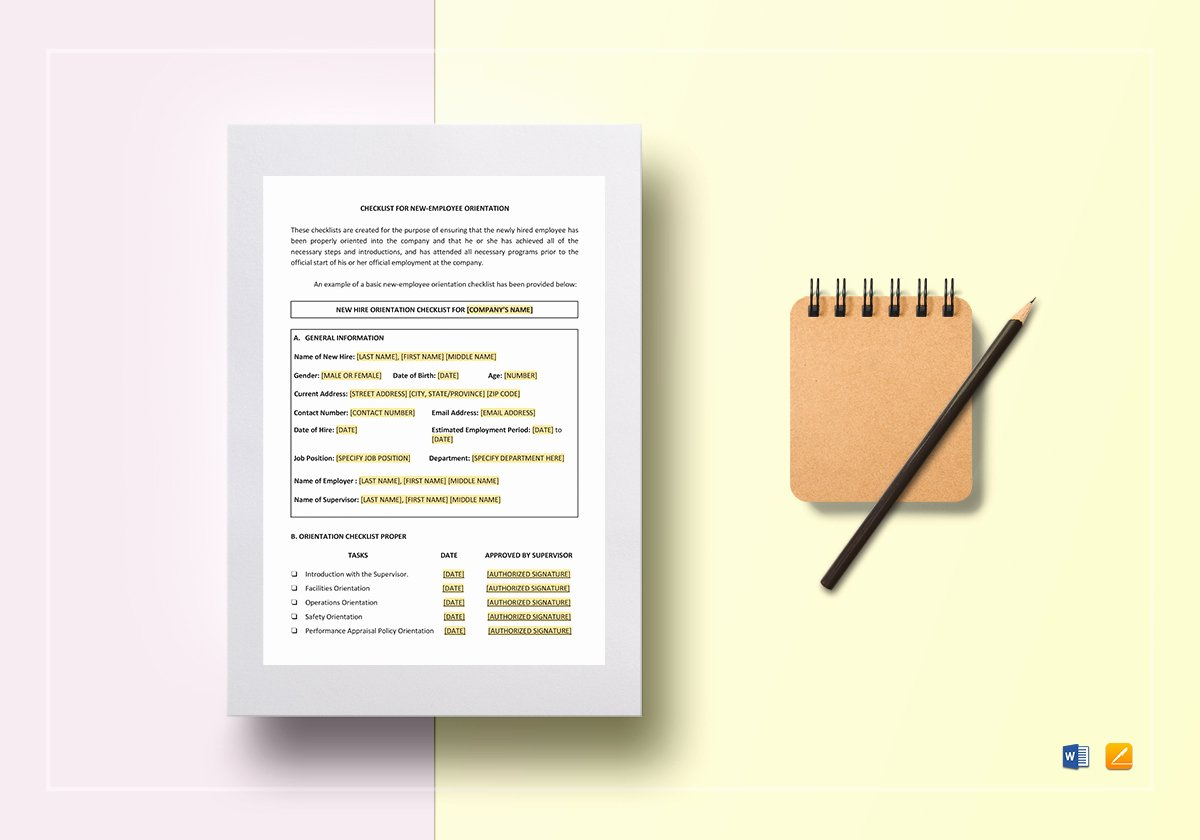 New Employee orientation Template Awesome Checklist New Employee orientation Template In Word